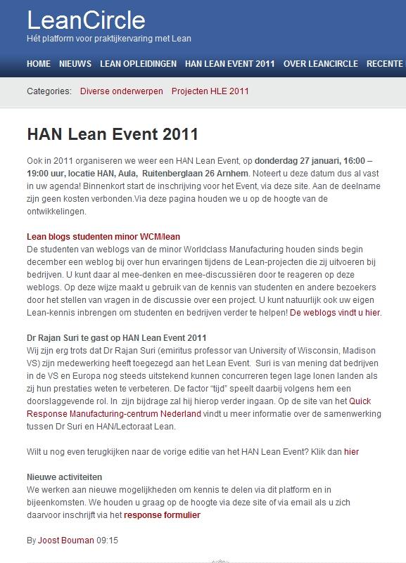 HAN Lectoraat Lean organiseert het HAN Lean Event op 27 januari 2011