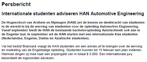 Internationale studenten adviseren HAN Automotive Engineering