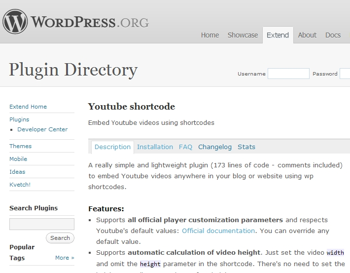 WordPress YouTube Shortcode plugin