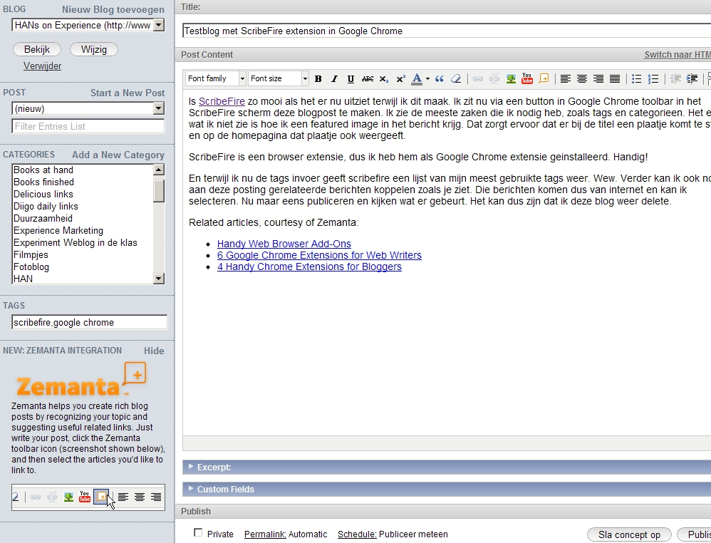 Testblog met ScribeFire extension in Google Chrome