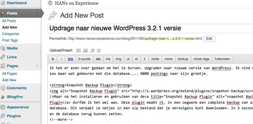 Upgrade naar nieuwe WordPress 3.2.1 versie