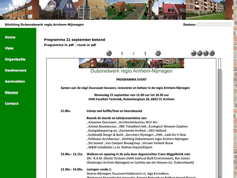 Programma Dubonetwerk Event: Samen aan de slag! Duurzaam bouwen, renoveren en beheer in de regio Arnhem-Nijmegen