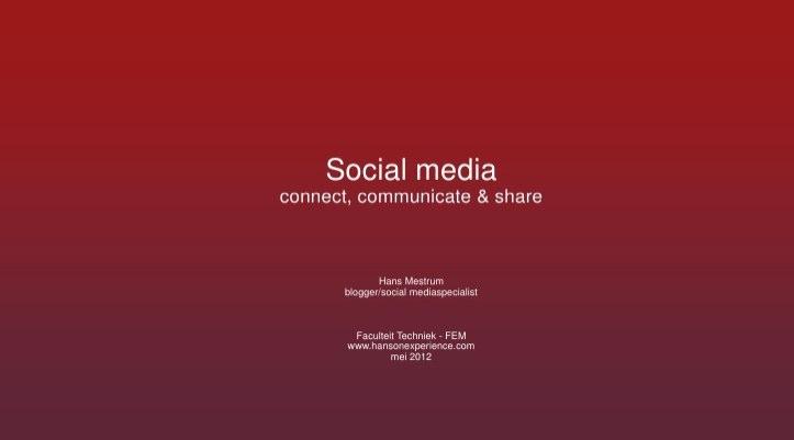 Presentatie Social media tijdens lunchbijeenkomst HAN Engineering