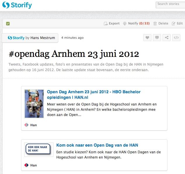 Live Storify #opendagHAN Arnhem 23 juni 2012