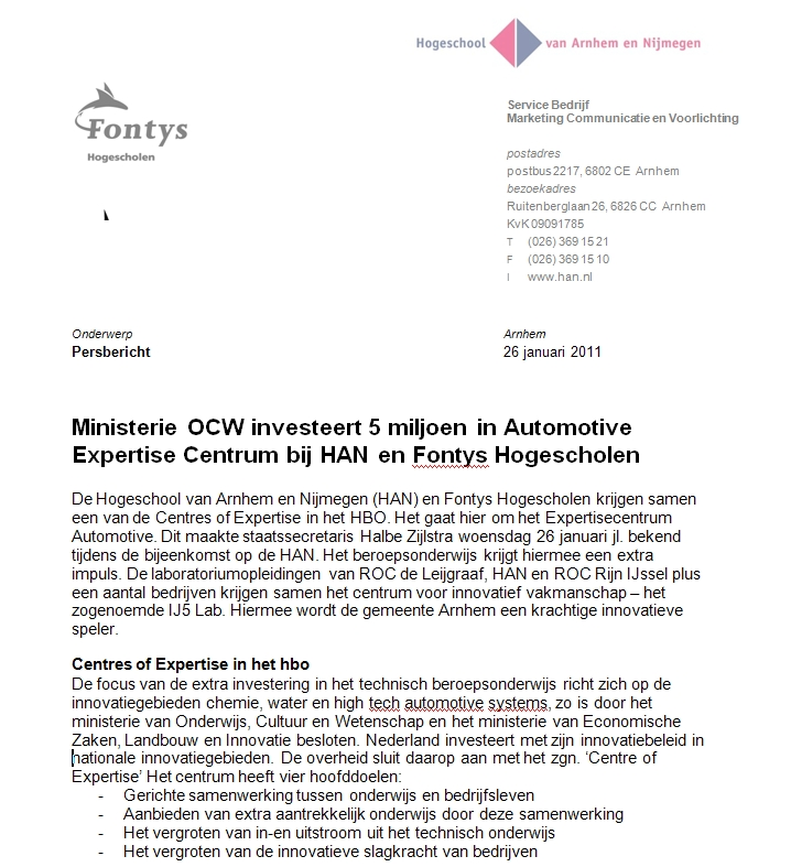 Automotive Expertise Centrum bij HAN en Fontys Hogescholen