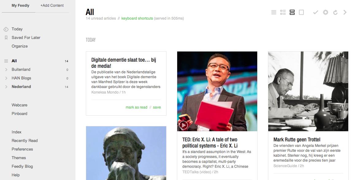 Dus……Feedly voor mijn RSS feeds